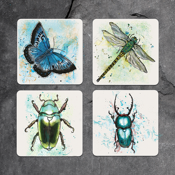 Set of 4 mixed bug coasters