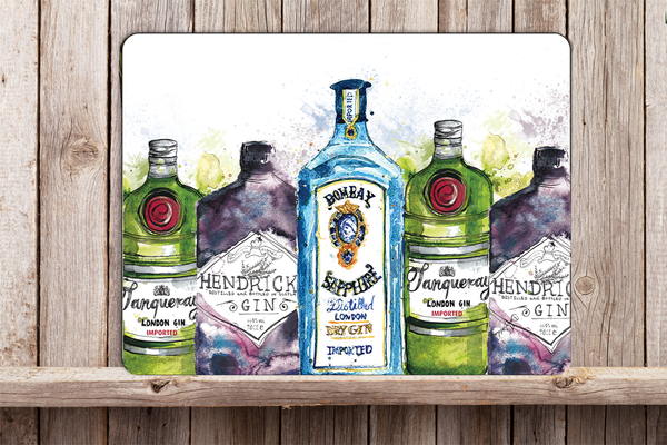 Glass Workstop Saver with beautiful Gin Bottle Design