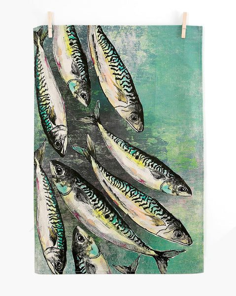 Mackerel Shoal Tea Towel