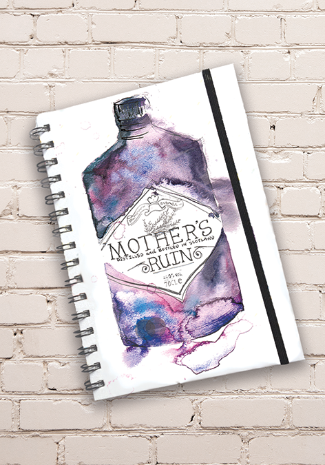 A5 Mother's Ruin Gin Print Hardback Spiral Bound Notebook