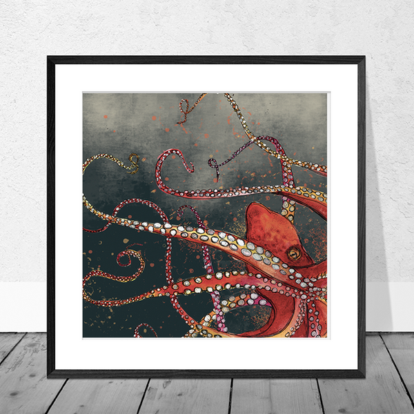 Red Octopus Art Print