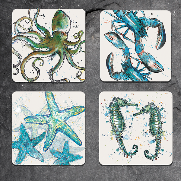 Set of 4 mixed sealife coasters
