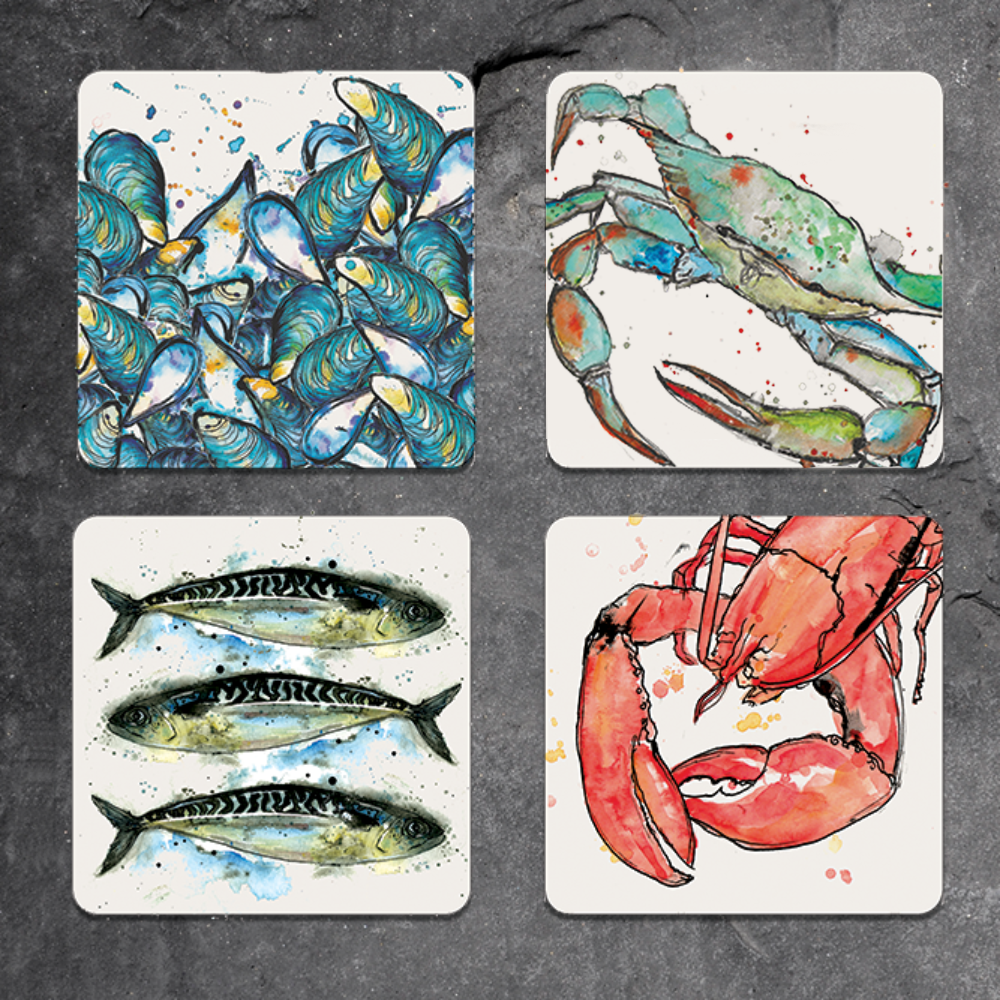 Set of 4 mixed seafood placemats