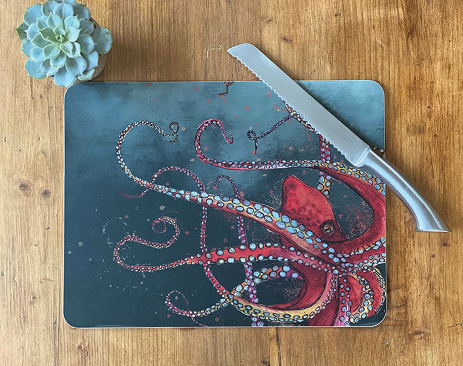 Large Red Octopus Centre Table Mat