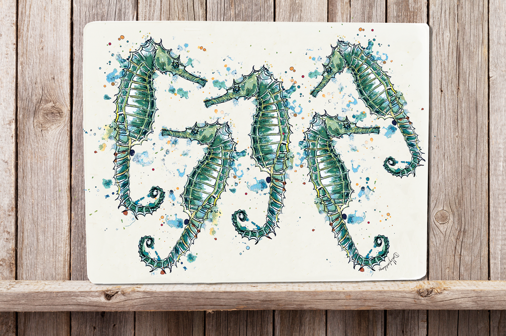 Glass Workstop Saver with Beautiful Seahorse Design
