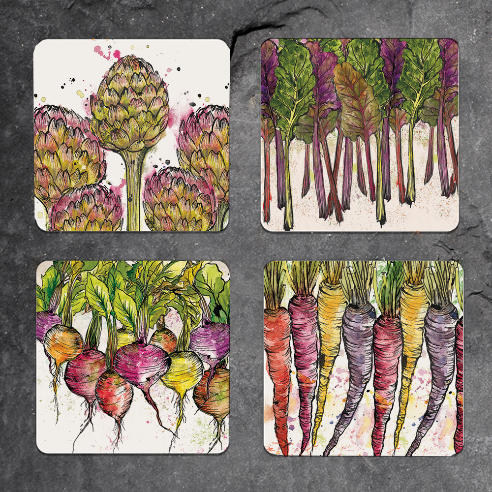 Set of 4 mixed vegetable coasters