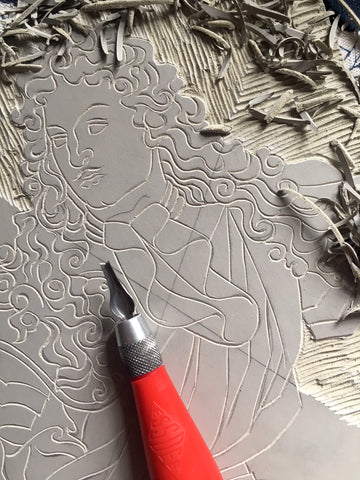 Rory Hutton X The Wallace Collection, Lino carving