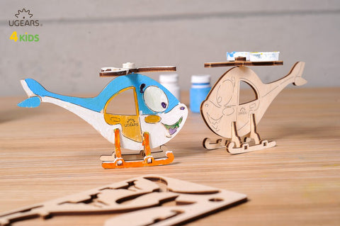 UGEARS 4 Kids - 3D Colouring Model Helicopter - Crafters Market
