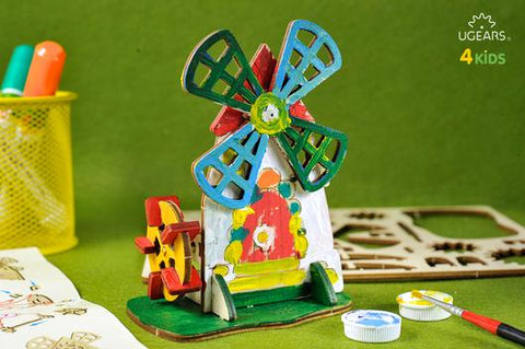 UGEARS 4 Kids - 3D Colouring Model Mill - Crafters Market