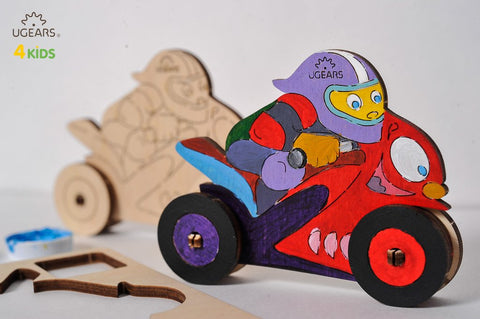 UGEARS 4 Kids - 3D Colouring Model Motorbike