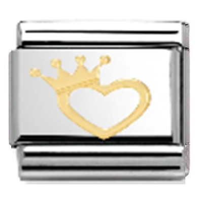Nomination Style Bracelet Charm - Gold Heart Crown - Crafters Market