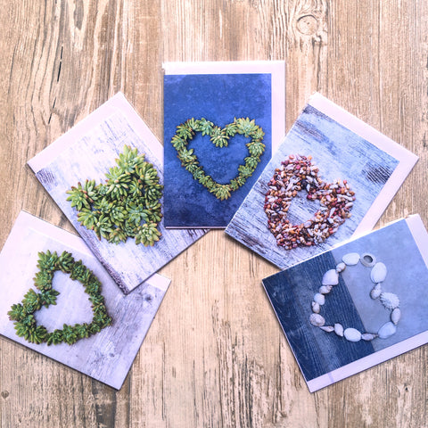 Cards - Succulent & Coastal Heart theme - Crafters Market