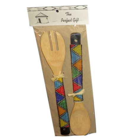 Beaded Bamboo Salad Server - Crafters Market