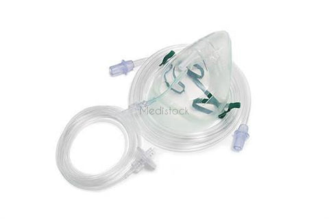 CO2 ETCO2 Capnography Face Mask Kit, Adult, with monitoring line oxygen tubing 2.1 metre and filter, box of 30