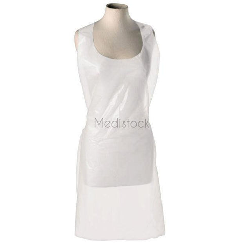"Aprons: White Polythene, Size: 27"" x 53"", 80g, 100 Pack 