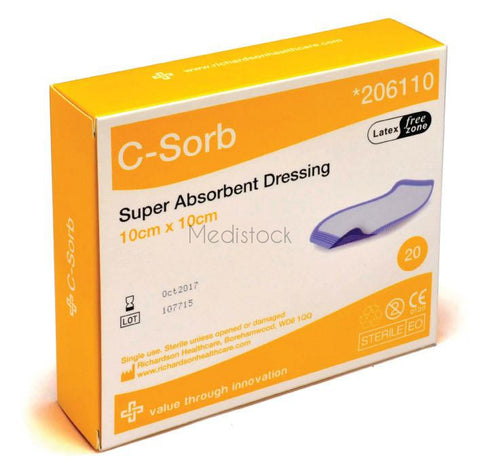 C -SORB, C Sorb, Super Absorbent Dressing Cellulose 10cm x 10 cm, Fluid Repellent Backing wrapped, single | £0.99