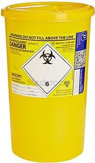 Sharps Bin 5L, Yellow Lid, Each