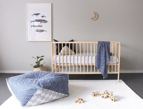 Wild River - And the Rest ladders Organic fitted cot sheet. Timber crescent moon. Wild River moon
