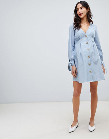ASOS DESIGN Maternity button through mini casual skater dress with tie sleeves in chambray