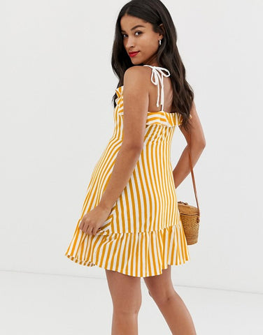ASOS DESIGN Maternity mini sundress with button front and pep hem in stripe