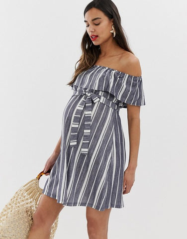ASOS DESIGN Maternity off shoulder pique stripe sundress with belt