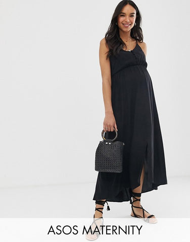 ASOS DESIGN Maternity button through cami maxi dress