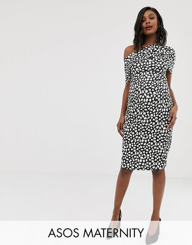 ASOS DESIGN Maternity pleated shoulder pencil dress in mono spot print