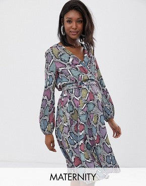 Flounce London Maternity wrap front midi dress in multi snake