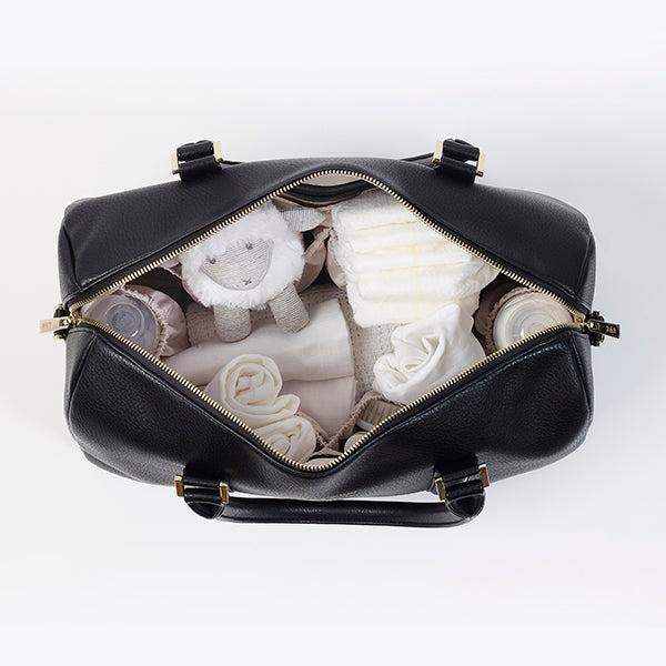 Black Baby Changing Bag Bow & Rattle Heather