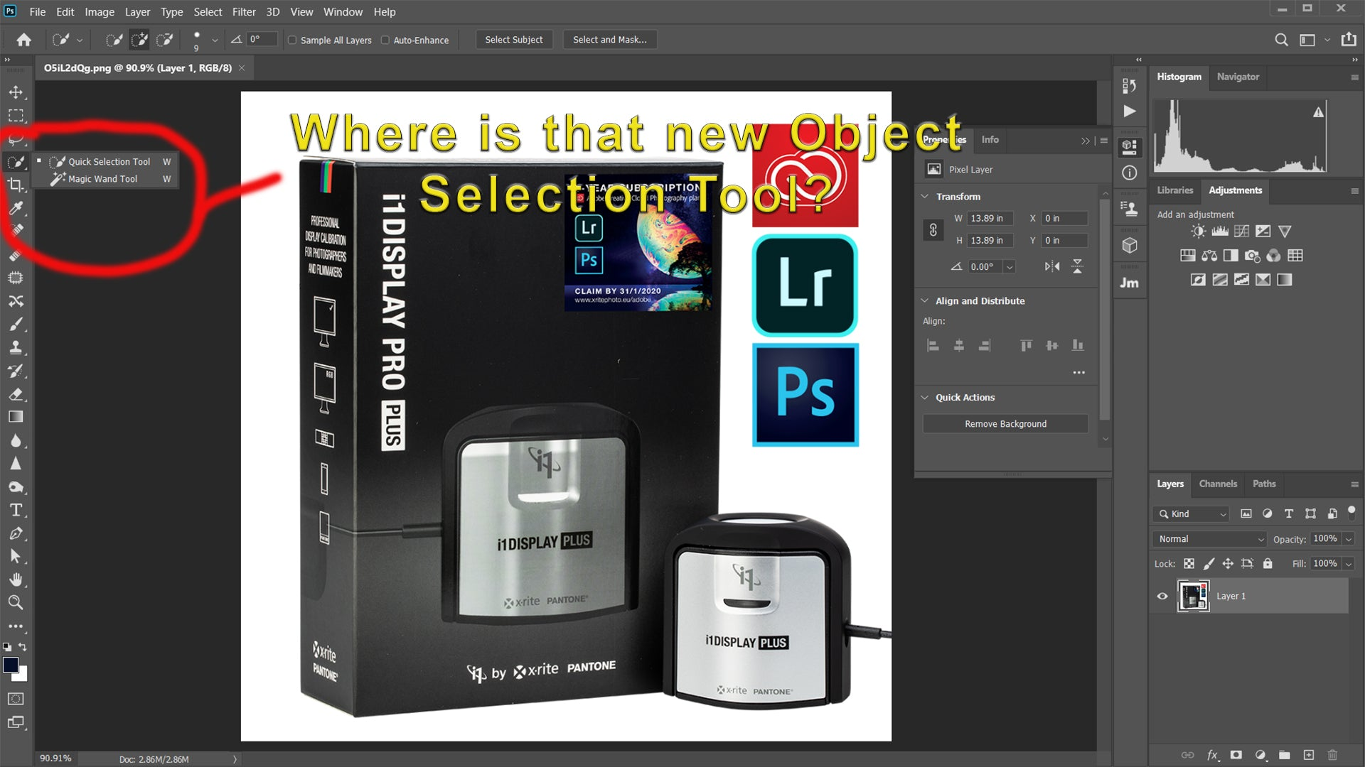 Adobe Photoshop 2020 and the Missing Tools on the Tool Bar