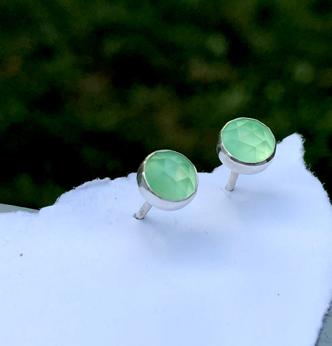 6mm Chalcedony Stud Earrings