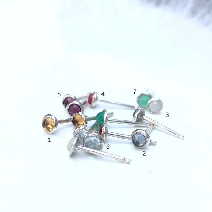 3mm Gemstone Stud Earrings
