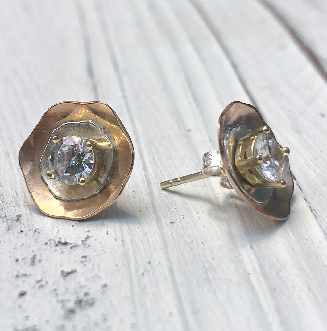 Gold and Silver Two Layer Ear Jackets