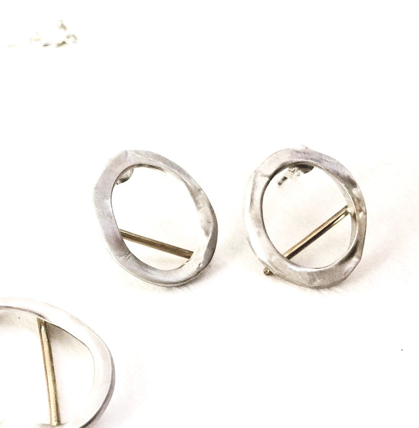 Audrey - Open Circle Drop Stud Earrings