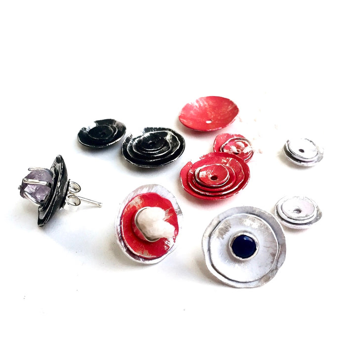 Earring Jackets - Distressed White, Red, Black Hand Painted