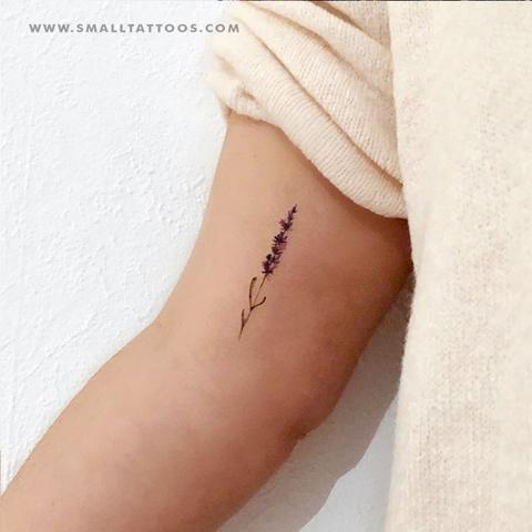 Watercolor lavender temporary tattoo