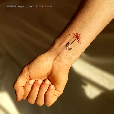 Red spider lily temporary tattoo