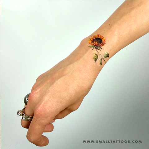Watercolor sunflower temporary tattoo