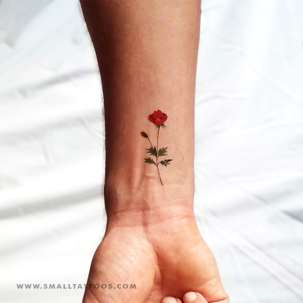 Red Chrysanthemum Temporary Tattoo by Zihee (Set of 3)