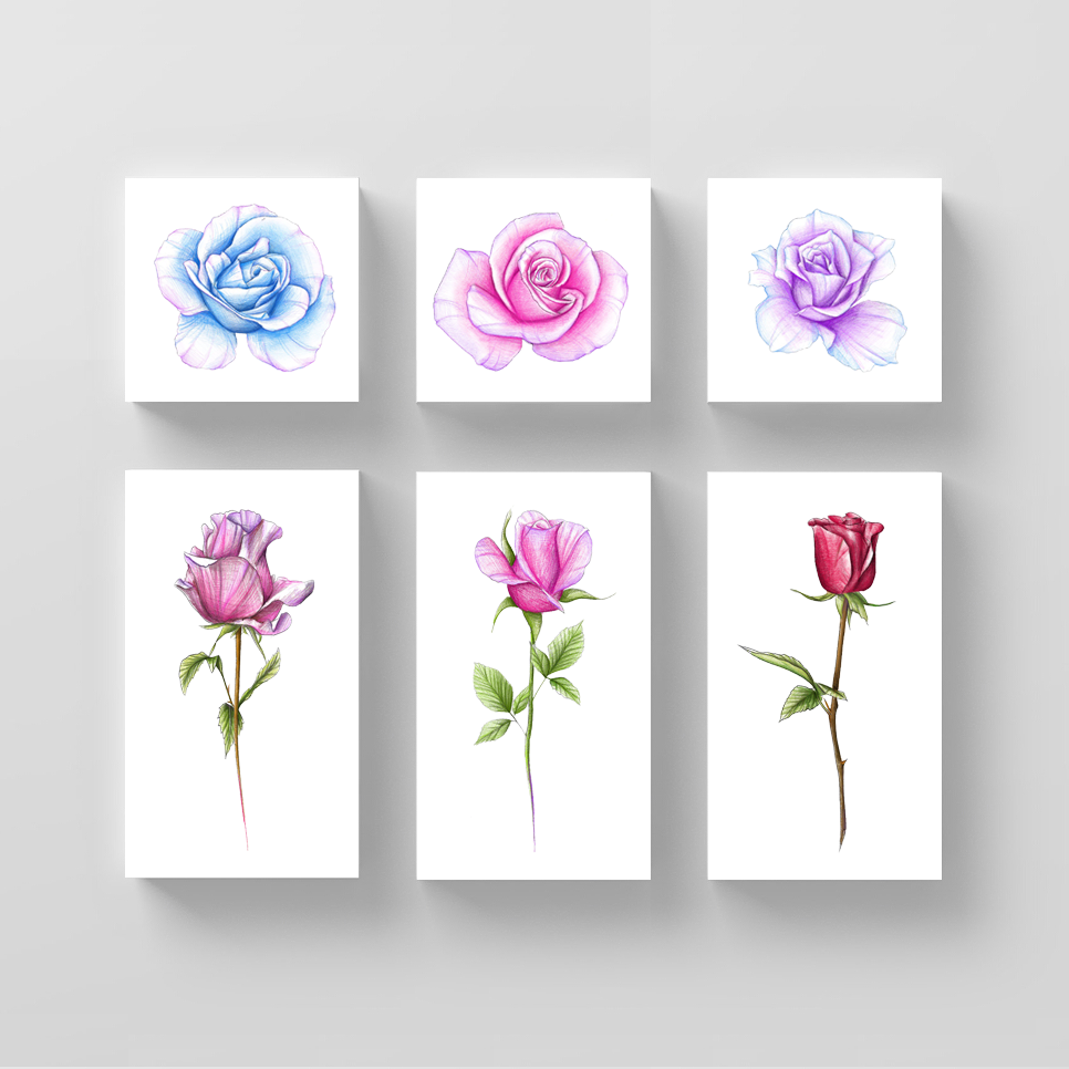 Rose Temporary Tattoo Set by Mini Lau (Set of 12)