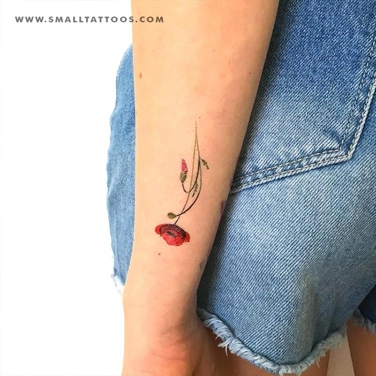 Poppy Temporary Tattoo By Lena Fedchenko (Set of 3)