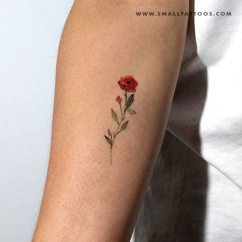 Red Rose Temporary Tattoo By Lena Fedchenko (Set of 3)