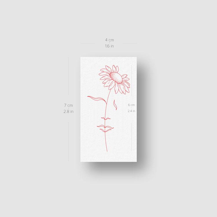 A Dreaming Daisy [Red] by Jakenowicz Temporary Tattoo - Set of 3