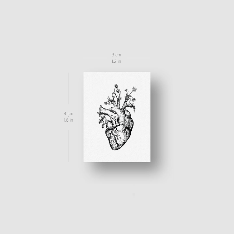 Human Heart And Flowers Temporary Tattoo (Set of 3)