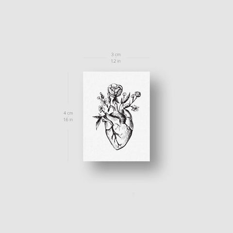 Floral Anatomical Heart Temporary Tattoo (Set of 3)