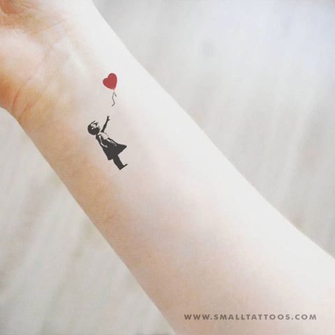 Small Banksy's Balloon Girl Temporary Tattoo (Set of 3)
