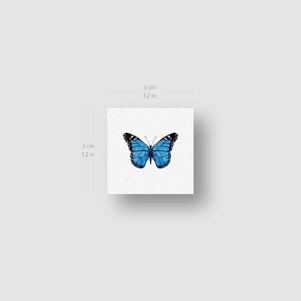 Small Blue Butterfly Temporary Tattoo (Set of 3)