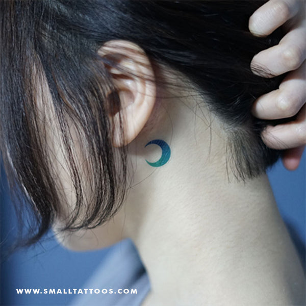 Blue And Green Crescent Moon Temporary Tattoo by Zihee (Set of 2)