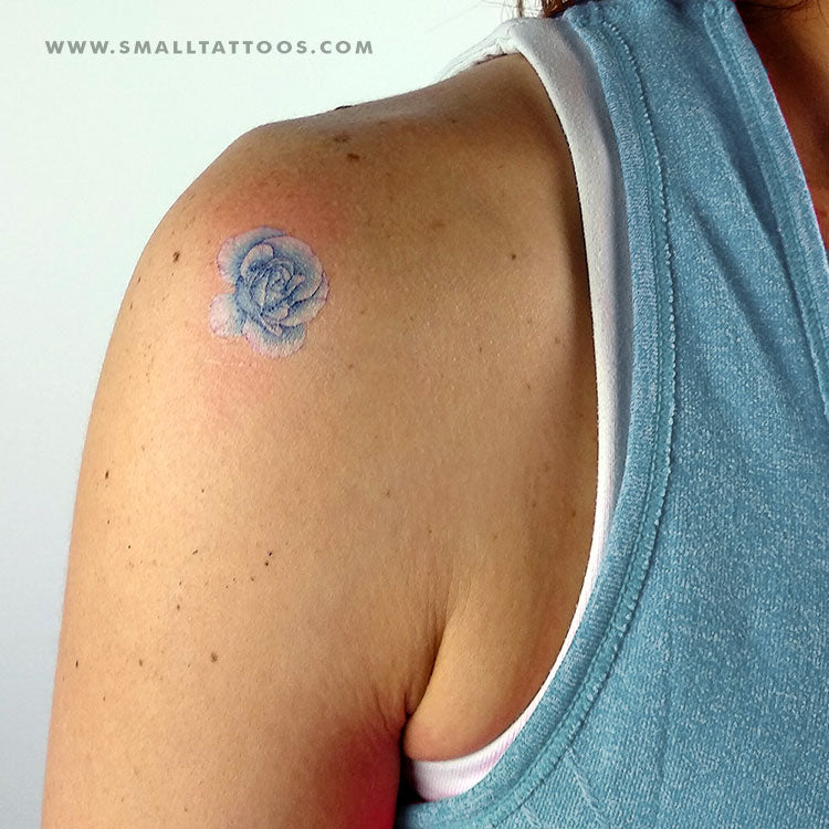 Blue Rose Head Temporary Tattoo by Mini Lau (Set of 3)