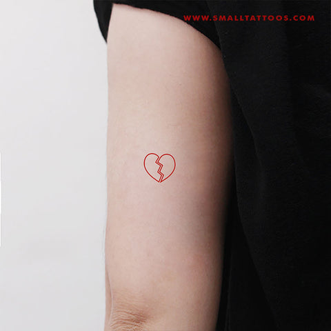 Red Broken Heart Temporary Tattoo (Set of 3)